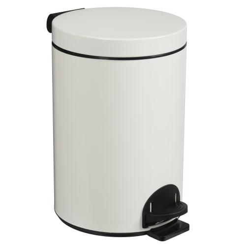 Poubelle métal à pédale 14L blanc photo du produit