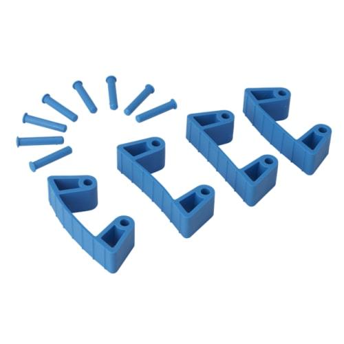 Lot de 4 clips caoutchouc pour support mural bleu photo du produit