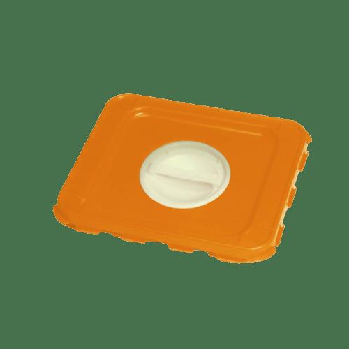 Couvercle autoclavable à poignée orange pour fûts DASRI VAT5 photo du produit