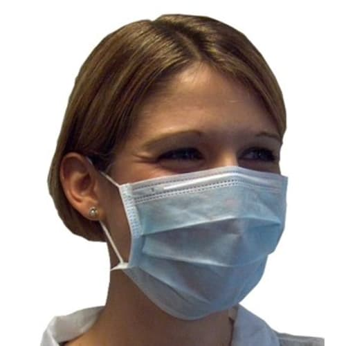 Masque d hygiène 3 plis haute filtration bleu à élastiques photo du produit