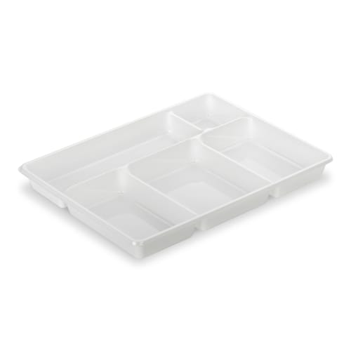 Plateau repas plastique 5 compartiments 290 x 224mm blanc photo du produit
