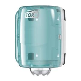 Distributeur d essuyage dévidage central M2 turquoise/blanc photo du produit