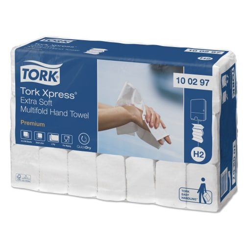 Essuie-mains plié blanc TAD 2 plis 21 x 34 cm certifié Ecolabel photo du produit Side View L