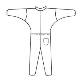 Combinaison PLP 50g/m² col Mao poche pantalon élastiques poignets taille chevilles bleu taille L photo du produit