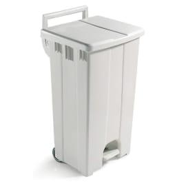 Poubelle plastique mobile à pédale 90L blanc photo du produit