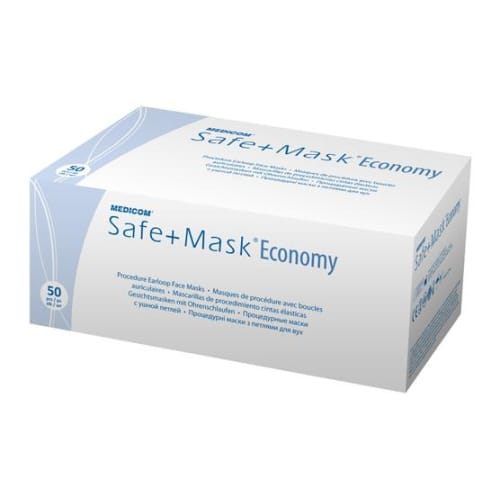 Masque d hygiène 3 plis Safe+Mask haute filtration bleu à élastiques photo du produit Back View L