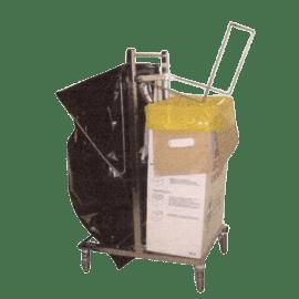 Chariot double supports sacs, carton ou fût DASRI inox photo du produit
