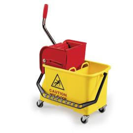 Seau bi-bac PLP 2 x 8L jaune avec presse à plat et roues photo du produit
