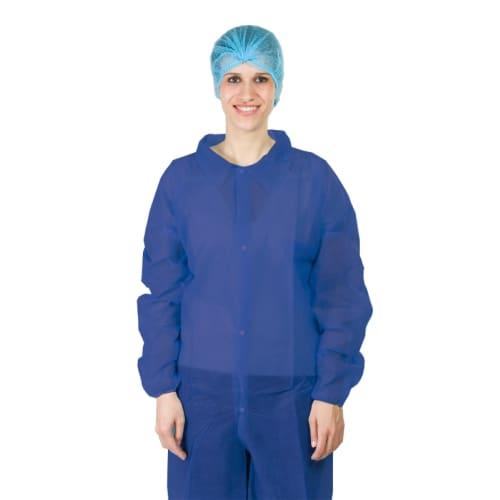 Blouse PLP 40g/m² 4 pressions col chemise élastiques poignets bleu taille L photo du produit