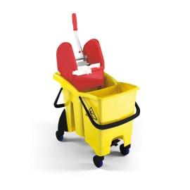 Seau bi-bac PLP 2 x 8L jaune avec presse à plat, roues et support porte-produits photo du produit