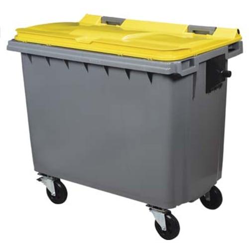 Conteneur plastique 4 roues 660L gris/jaune photo du produit