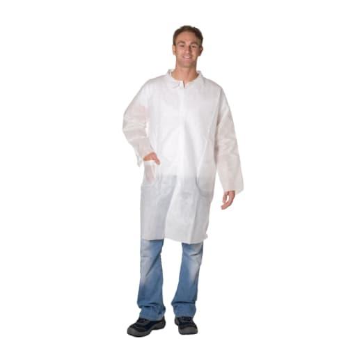 Blouse de laboratoire Poligard PLP 50g/m² pressions col chemise 2 poches blanc taille XL photo du produit