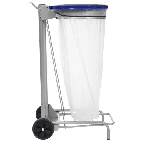 Support sac mobile métal à pédale 110L bleu photo du produit Back View L