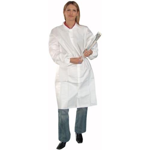 Blouse de laboratoire Partiguard pressions col chemise élastiques poignets blanc taille L photo du produit