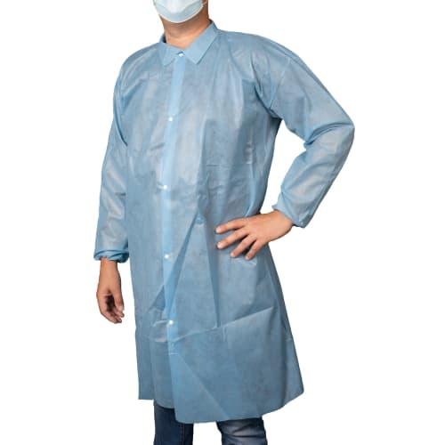 Blouse de laboratoire PLP 50 g/m² col chemise sans poche élastiques poignets bleu taille XL photo du produit