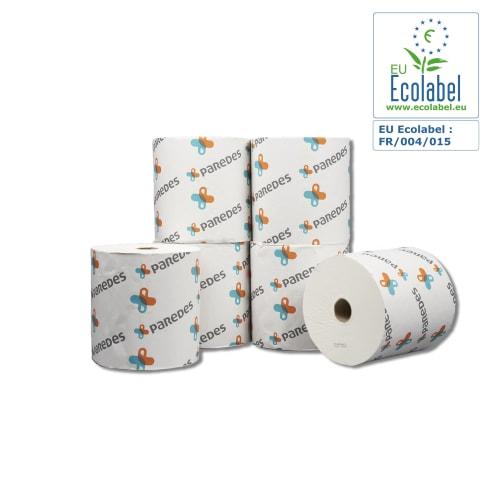 Essuie-mains rouleau blanc 2 plis 200m certifié Ecolabel sans emboût photo du produit