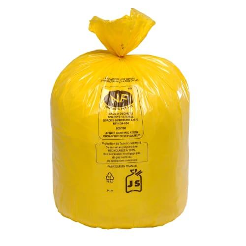Sac plastique PE BD 110L jaune 36µm NF photo du produit