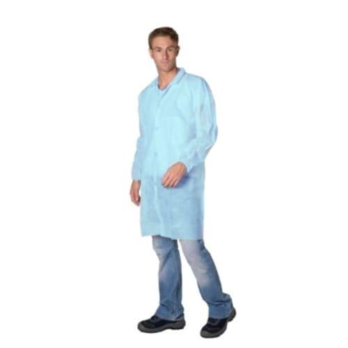 Blouse de travail PLP 30g/m² 4 velcros col chemise élastiques poignets bleu taille XL photo du produit