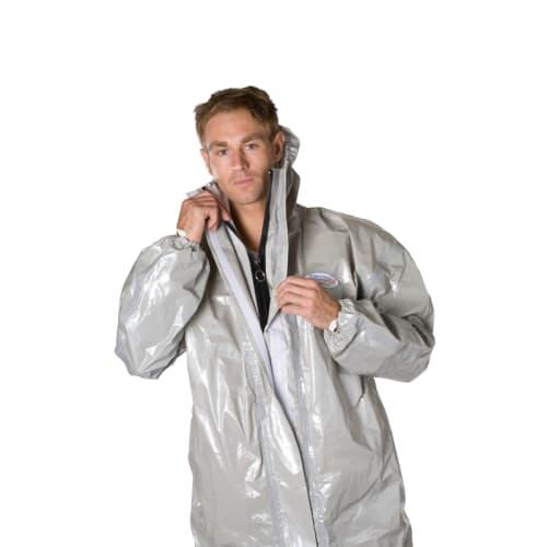 Combinaison de protection Jetguard Plus type 3 chaussettes couvre-bottes doubles passe-pouces poche poitrine élastiques cagoule poignets taille gris taille XL photo du produit
