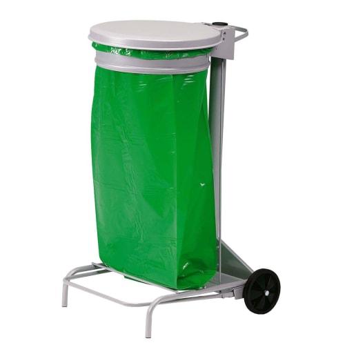 Support sac mobile métal à pédale 110L gris photo du produit