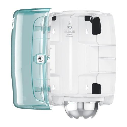 Distributeur d essuyage dévidage central M2 turquoise/blanc photo du produit Side View L