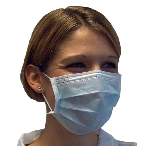 Masque d hygiène PLP 3 plis bleu à élastiques photo du produit