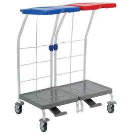 Chariot de ramassage linge 2 supports avec pédale photo du produit