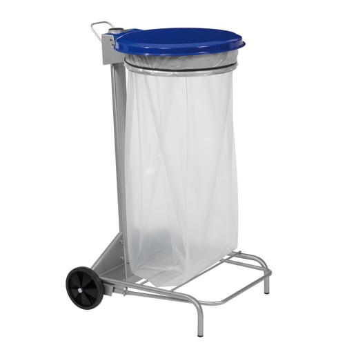 Support sac mobile métal à pédale 110L bleu photo du produit