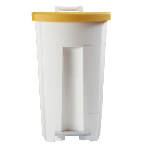 Poubelle mobile plastique àpédale 90L blanc/jaune photo du produit Side View L