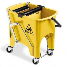 Seau bi-bac PLP 2 x 8L jaune avec rouleaux essoreurs à pédale et roues photo du produit