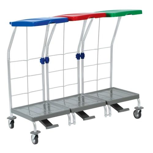 Chariot de ramassage linge 3 supports avec pédale photo du produit