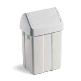Poubelle plastique à couvercle basculant 50L blanc photo du produit
