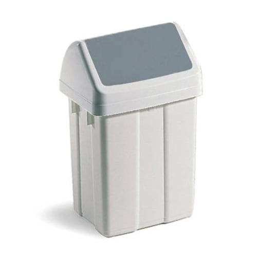 Poubelle plastique à couvercle basculant 25L blanc photo du produit