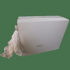 Essuyage issu du recyclage textile tissé coton blanc petit format photo du produit