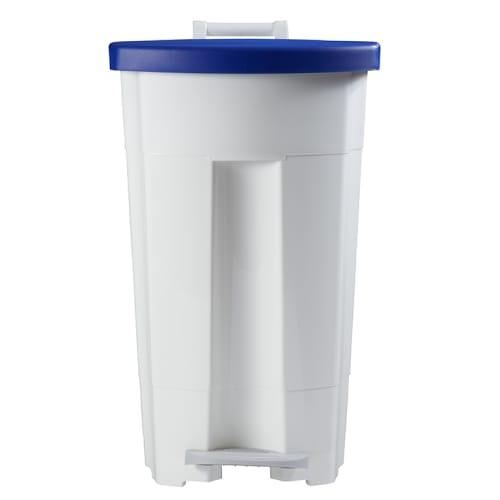 Poubelle mobile plastique à pédale 90L blanc/bleu photo du produit Back View L