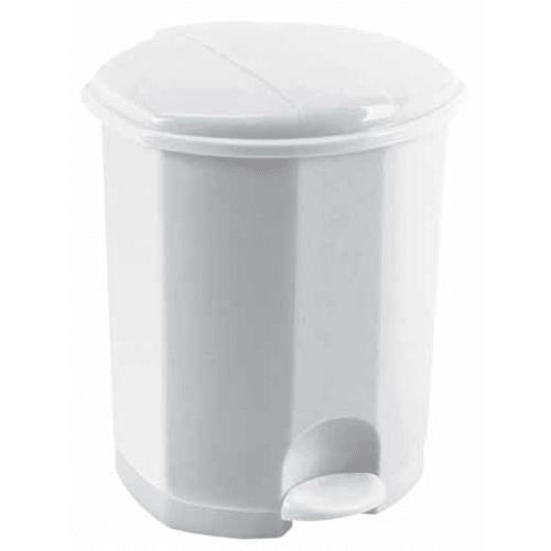 Poubelle plastique à pédale 5L blanc photo du produit