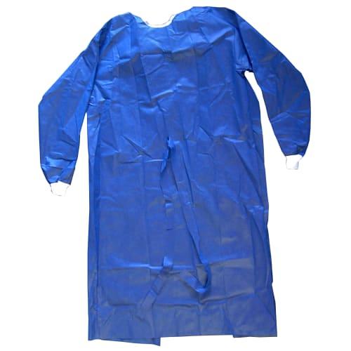 Blouse de soins PLP 40g/m² à liens poignets jersey bleu longueur 130 cm photo du produit