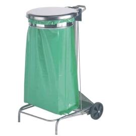 Support sac mobile métal à pédale 110L inox photo du produit