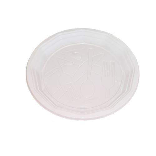 Assiette plastique ronde O200mm blanc photo du produit Back View L