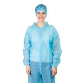 Blouse de travail PLP 25g/m² 4 pressions col chemise élastiques poignets bleu taille XL photo du produit
