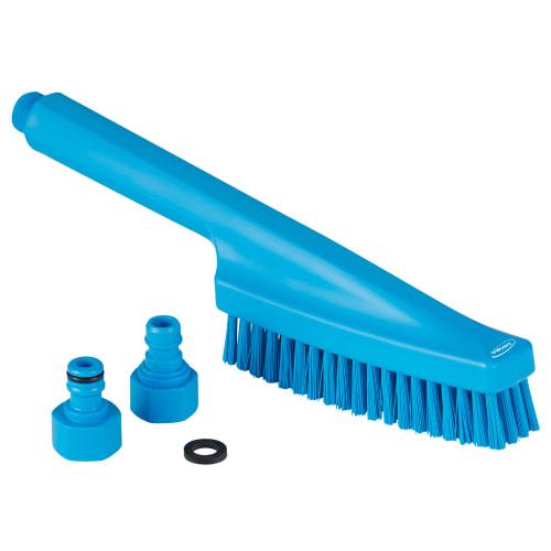Brosse à main à passage d eau fibres dures alimentaire PLP 33cm bleu photo du produit