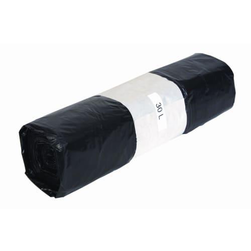 Sac plastique PE BD 30L noir 23µm lien coulissant photo du produit