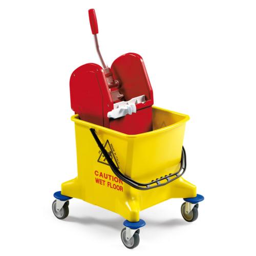 Seau PLP 25L jaune avec roues et presse à machoires photo du produit