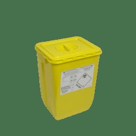 KIT fût DASRI VAT 5 50L rectangulaire jaune et couvercle à obturateur photo du produit