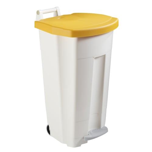 Poubelle mobile plastique àpédale 90L blanc/jaune photo du produit
