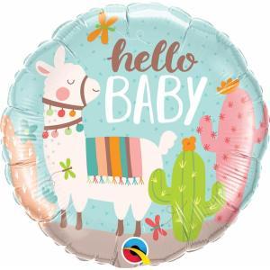 Hello Baby Llama Foil Balloon 18 Inch
