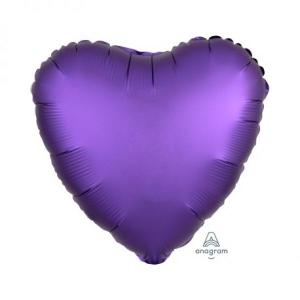 Satin Luxe Purple Royale Heart Foil Balloon 18inch