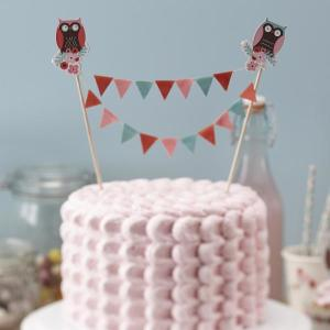 Patchwork Owl - Cake Bunting Topper (2 sticks per pack)