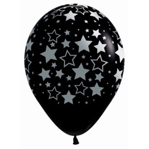 Silver Metallic Star Print Latex Balloons (5)