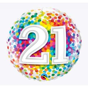 Rainbow Confetti 21st Birthday 18 inch foil balloon
